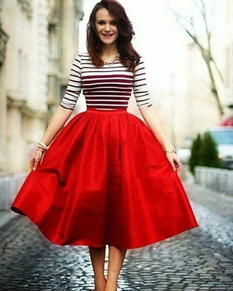 Red Structured Circle Skirt With Stripped Top