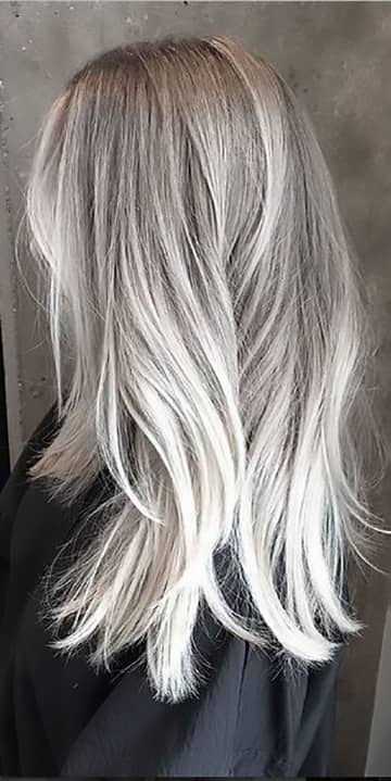 Platinum Blonde To Silver Balayage