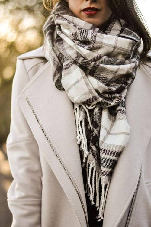 Neutral Plaid Pashmina With Beige Coat