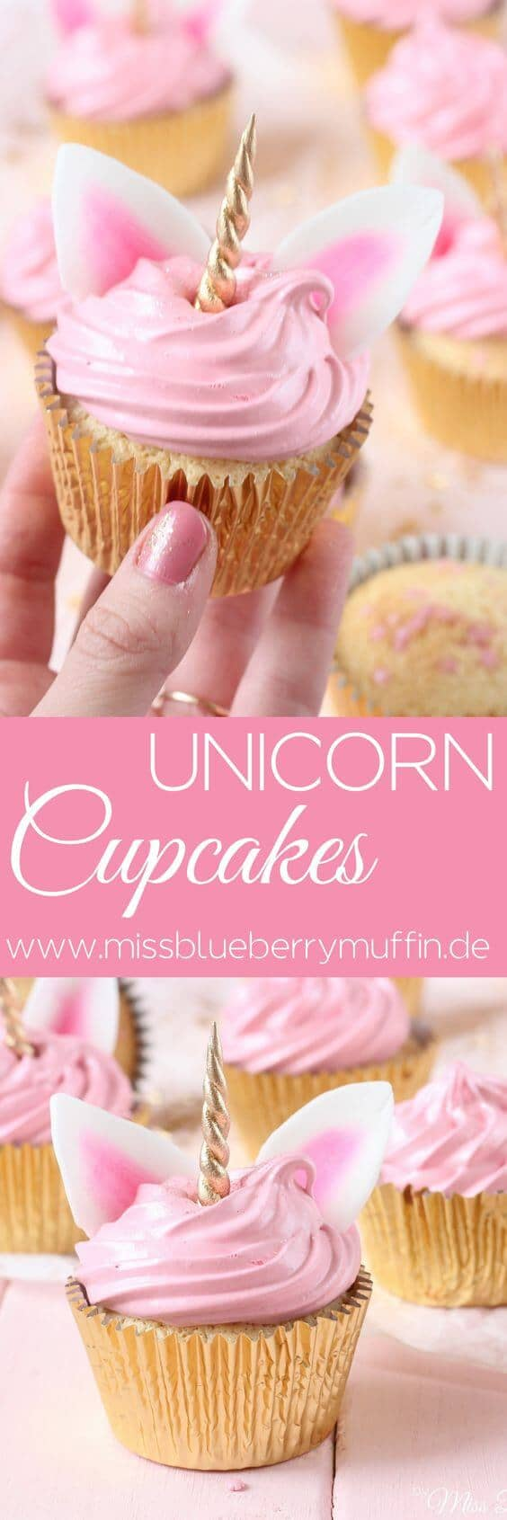 Gold and Rose Quartz Unicorn Cupcakes