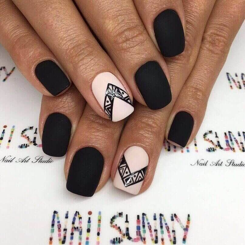 Matte Black with Baby Pink and Native Design
