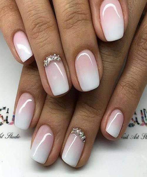Nude Gradient Manicure with Gem Accent
