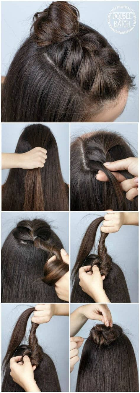 Top Head Tied Braided Hair Tutorials