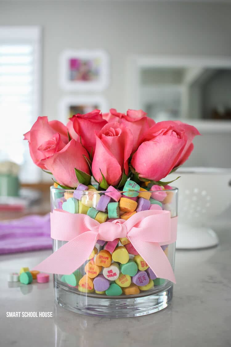Decorative Jar of Valentine's Day Candy & Pink Roses