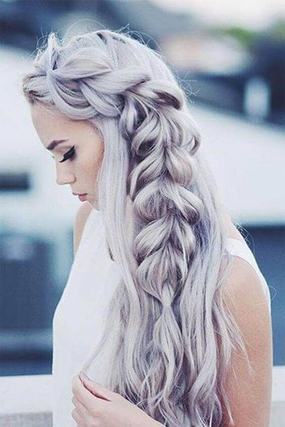 Loose Side Braid With Lavender Color (Most Pinned Hairstyles Top Pick!)