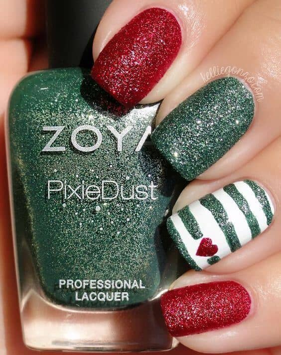 Textured Red and Green Glitter