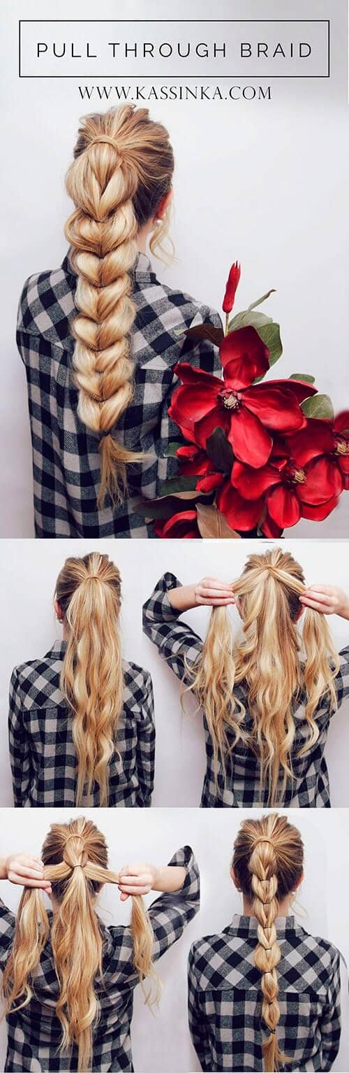 Long Easy Ponytail Braided Hair Tutorials