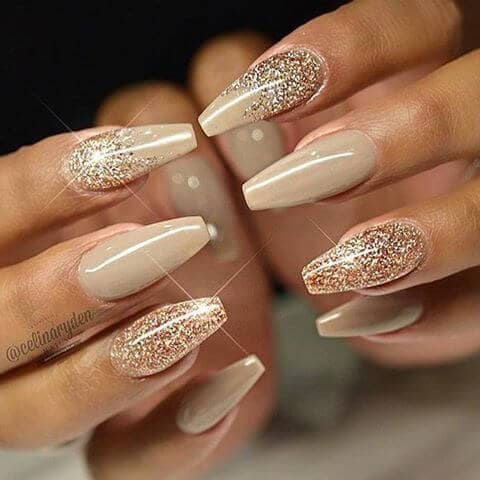 Sparkly Nude Coffin Shape Manicure