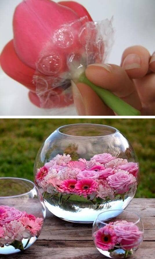 Floating Flower Fishbowl Displays