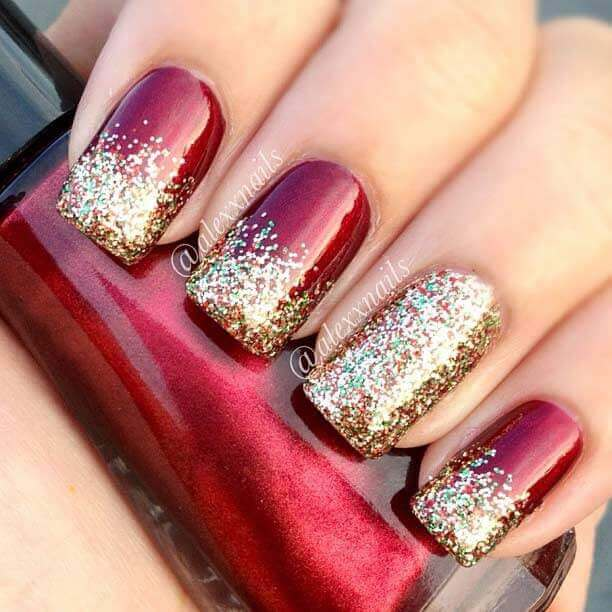Crimson Micro Glitter with Gold Glitter Ombré Tips