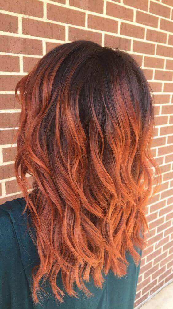 Fiery Red Wavy Balayage