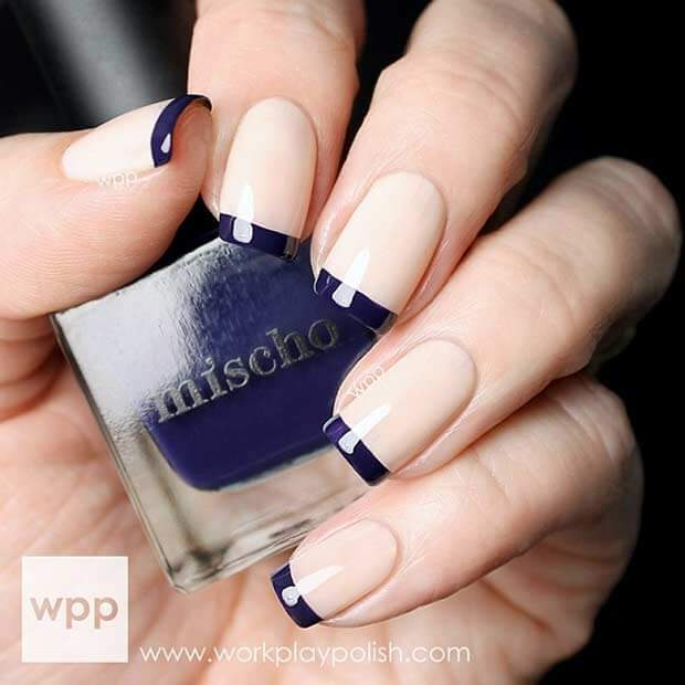 Navy Blue Tipped French Nail Art