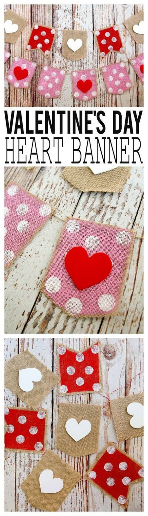 Do-It-Yourself Stitched Cloth Valentine Heart Garland