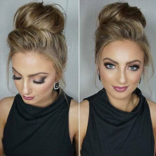 High Chignon With Crown Volume