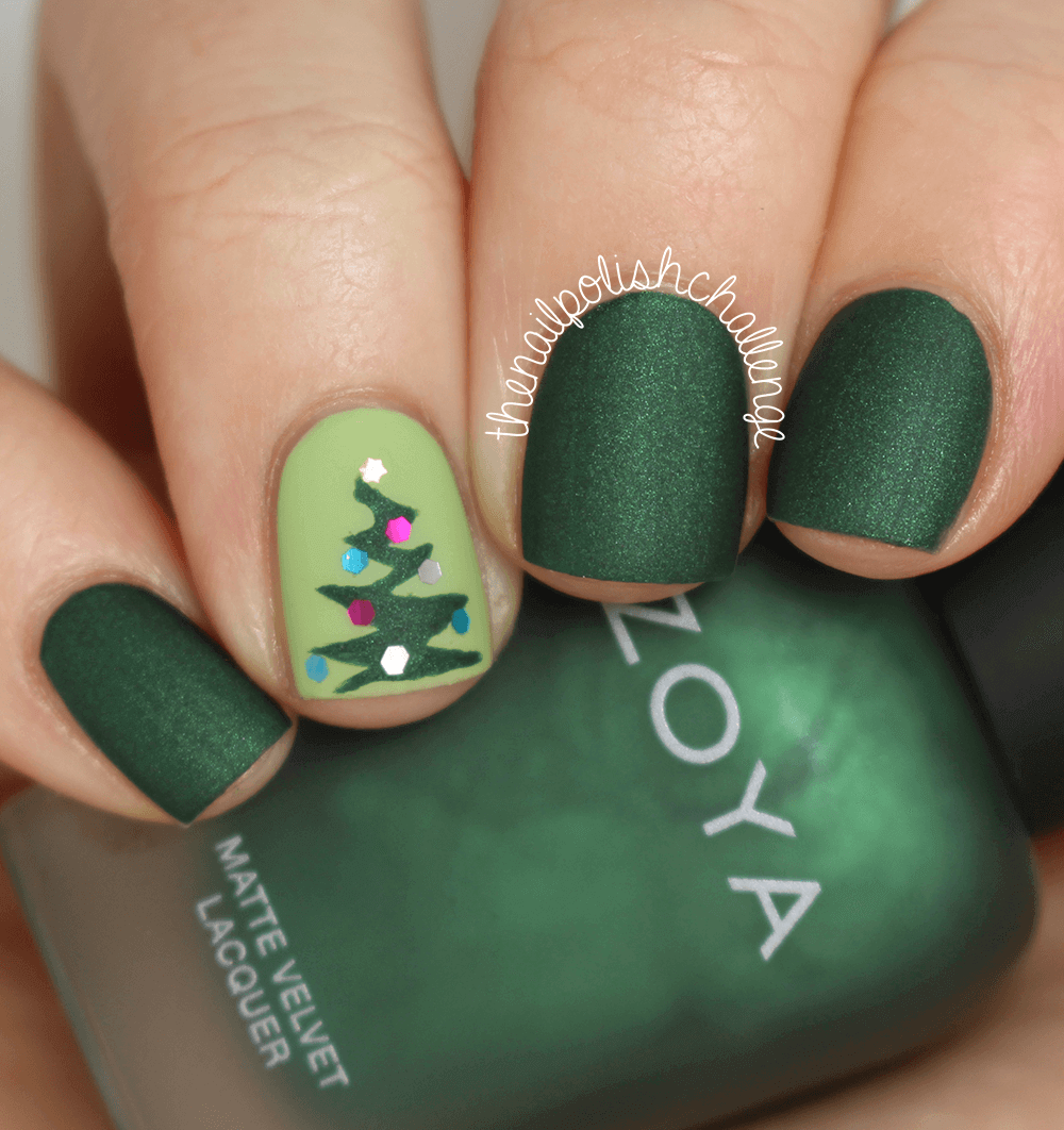 Matte Green with Christmas Tree Nail Art