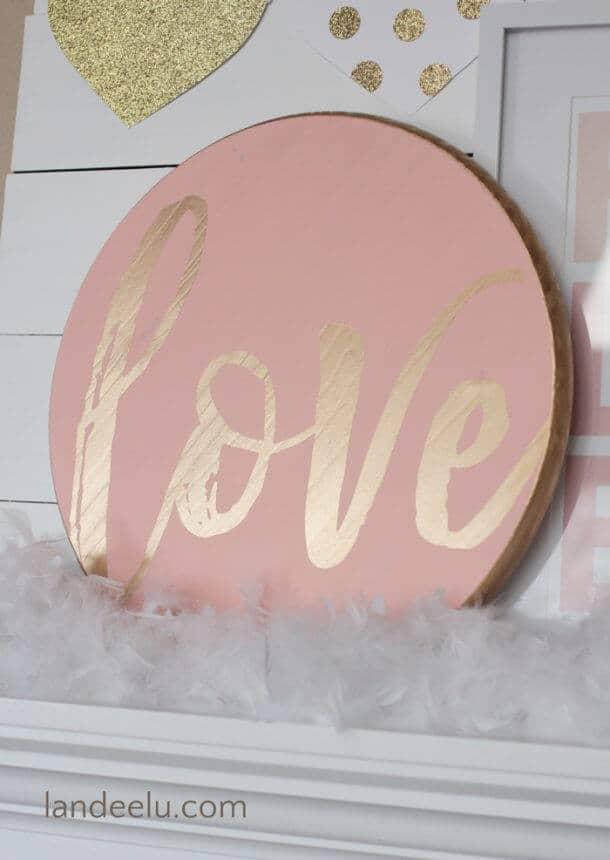 "Hand-Painted Gold on Coral ""Love"" Wooden Valentine's Decoration"