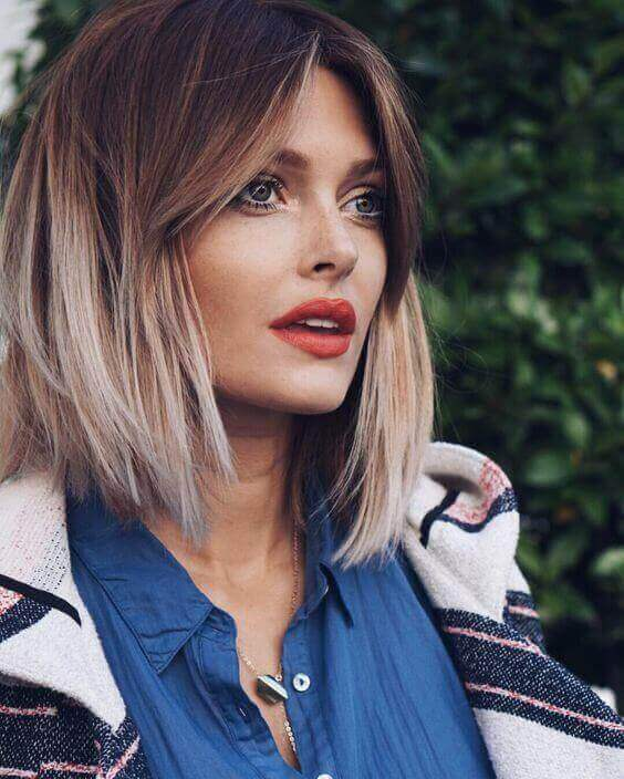 Ombre Lob With Long Bangs