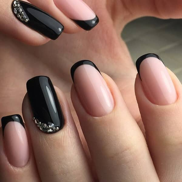 Black Tipped French Manicure with Accent