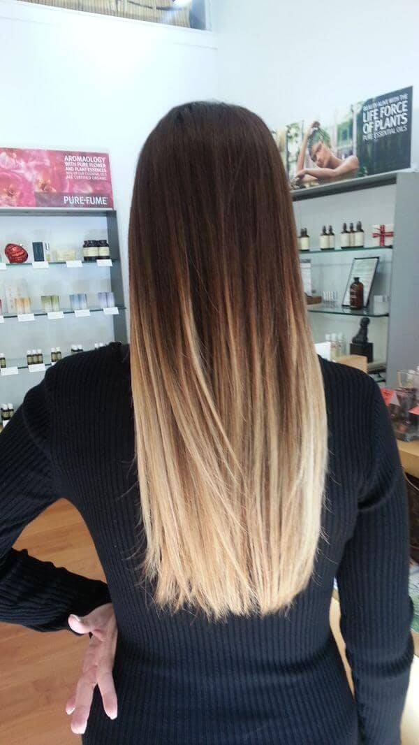 Brunette-to-blonde Long Ombre