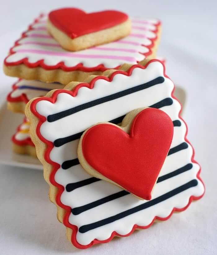 Stacked Valentine Stamps with Royal Icing