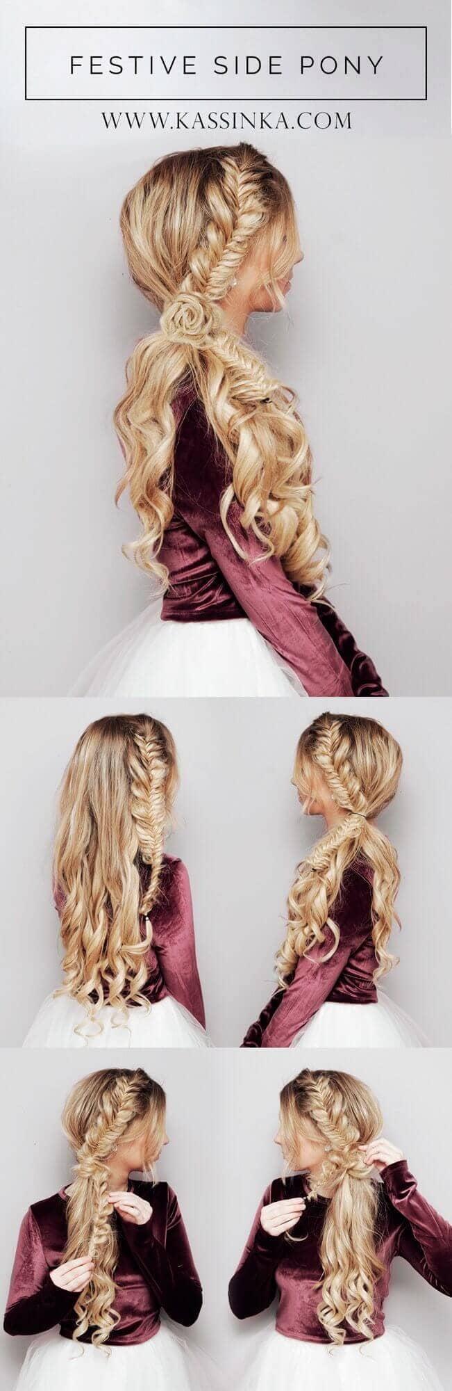 Wavy Side Pony With Fishtail Braid