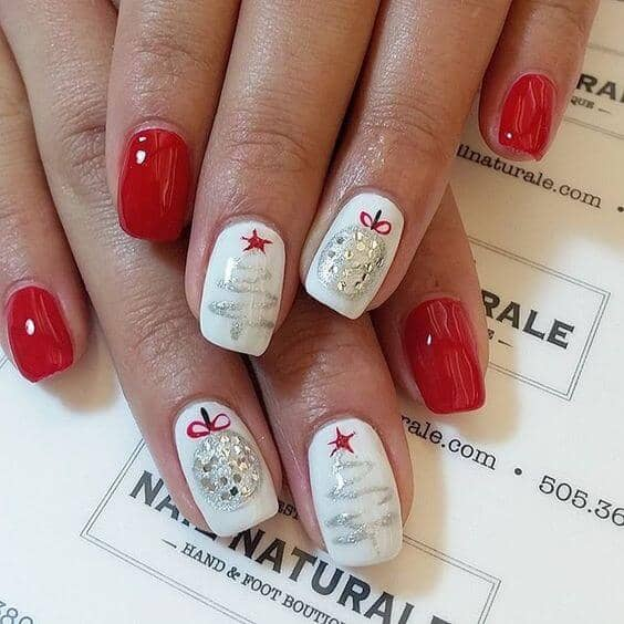 Cherry Red and Snow White with Holiday Nail Art