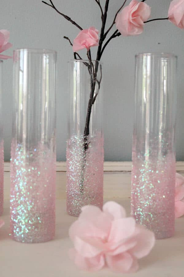 Lovely Frosted Pink Glitter Decorative Vase
