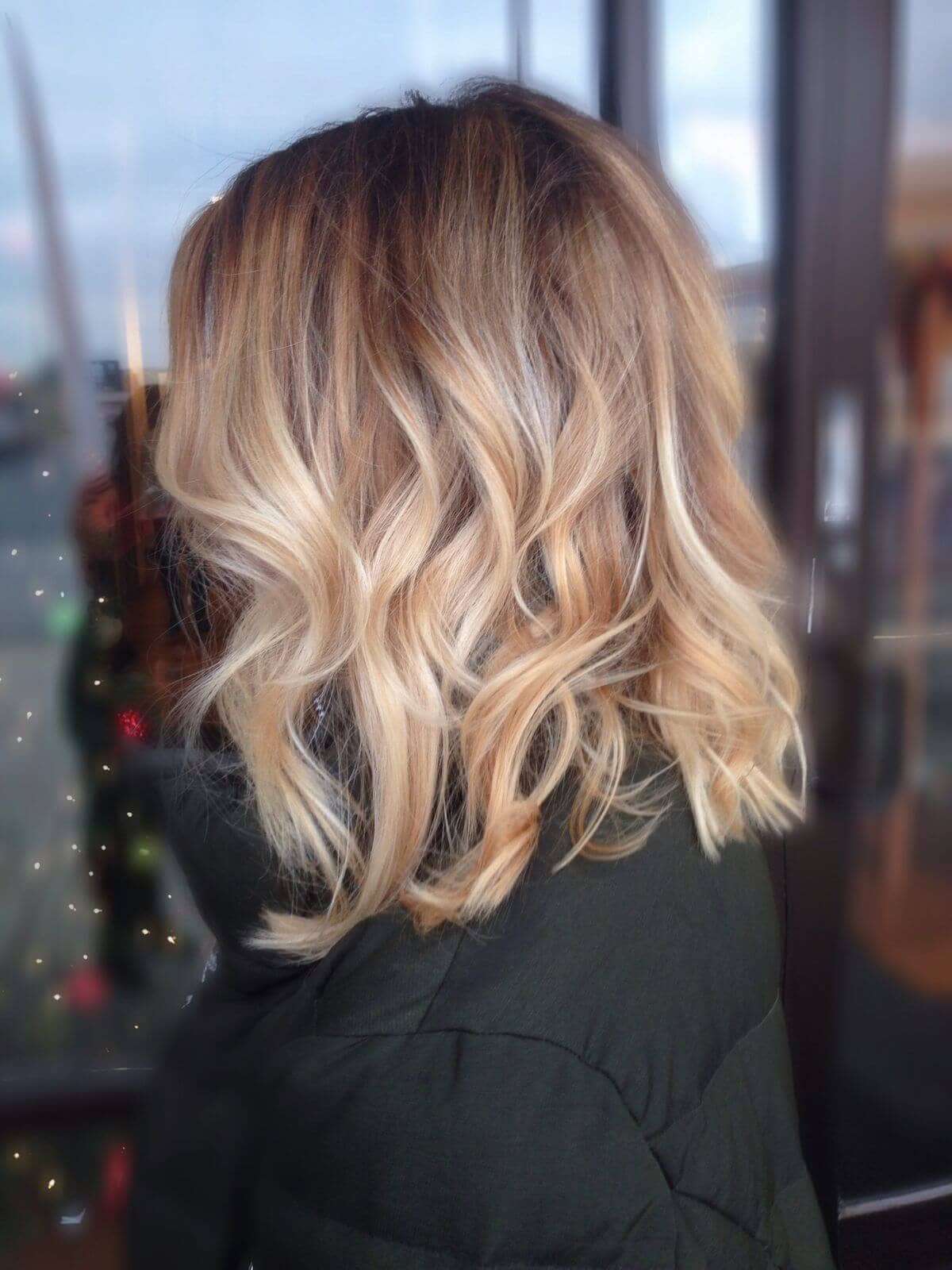 Wavy Lob With Honey Platinum Balayage