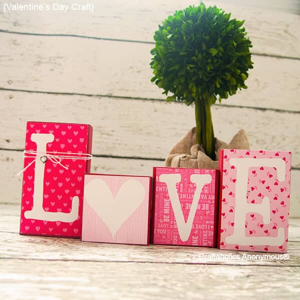 """Love"" Valentine's Day Themed Pink and Red Blocks"
