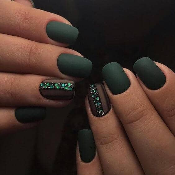 Deep Matte Green With Emerald Gem Accent Nails