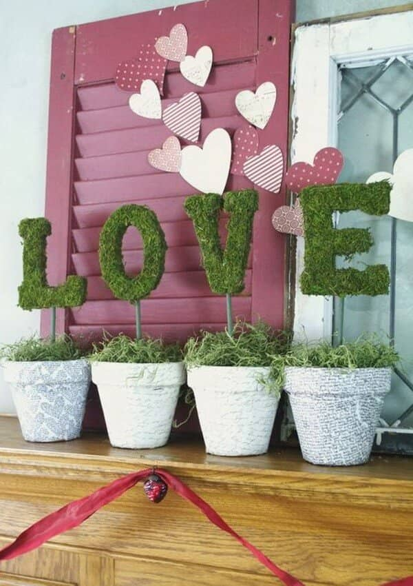 "Faux Green ""Love"" Plants with Decorative Flower Pots"