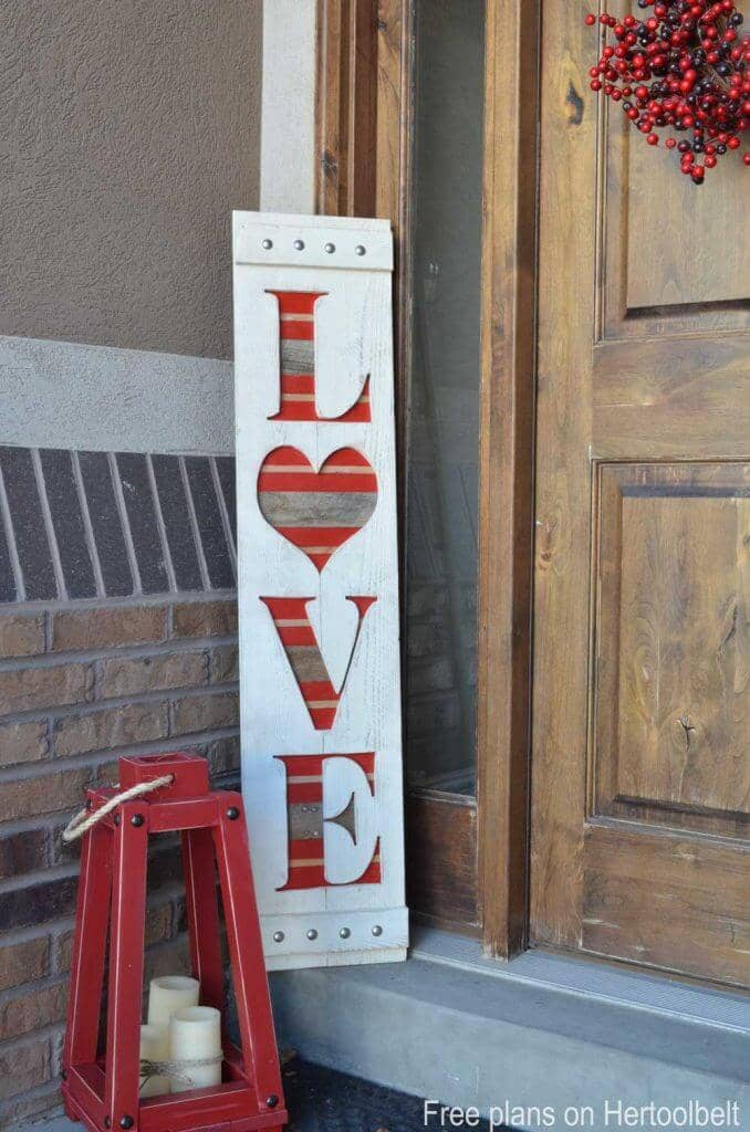 "Wooden Valentine's ""LOVE"" Sign with Multi-Colored Underlay"