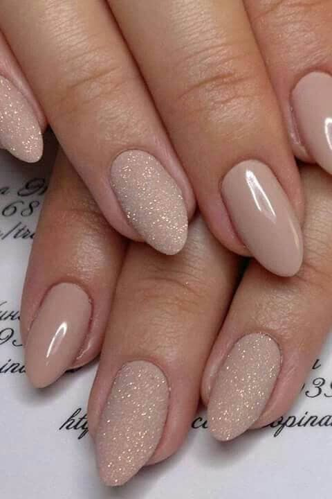 Beige Oval and Glitter Acrylic Nails Mixture