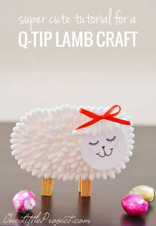 Fluffy Lamb Made With Q-tips