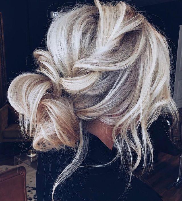 Messy Wave Bun Hairstyle Design