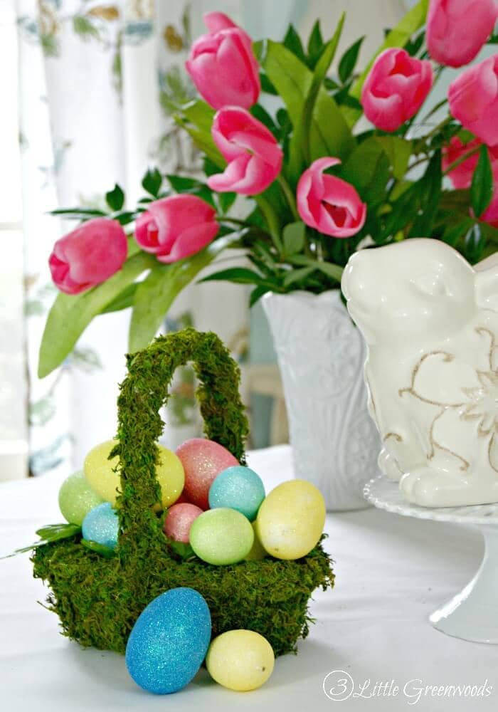 Natural Floral Moss Basket with Eggs