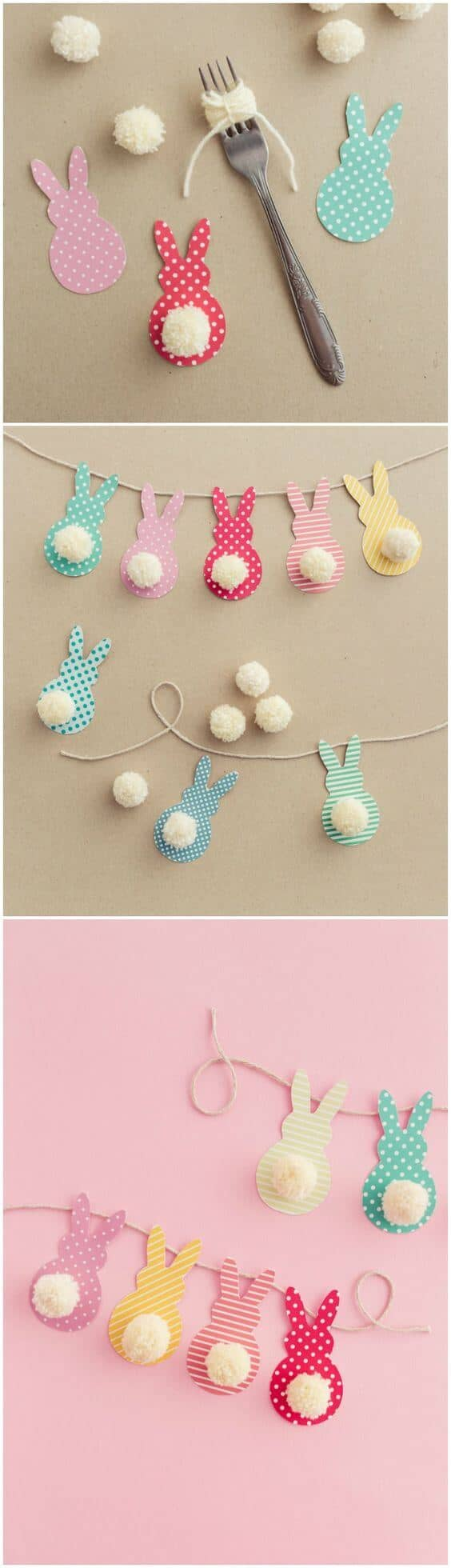 DIY Bushy-tailed Bunny Garland Easter Decoration