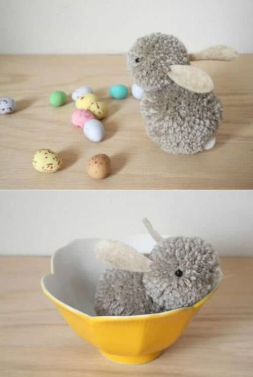 Pom-Pom Bunny Laying Easter Eggs