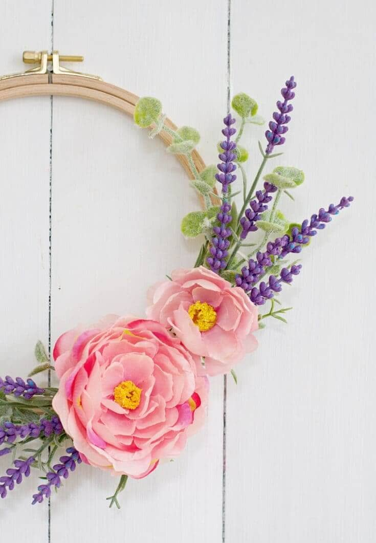 Spring Flowers Tucked in Embroidery Hoop Wreath