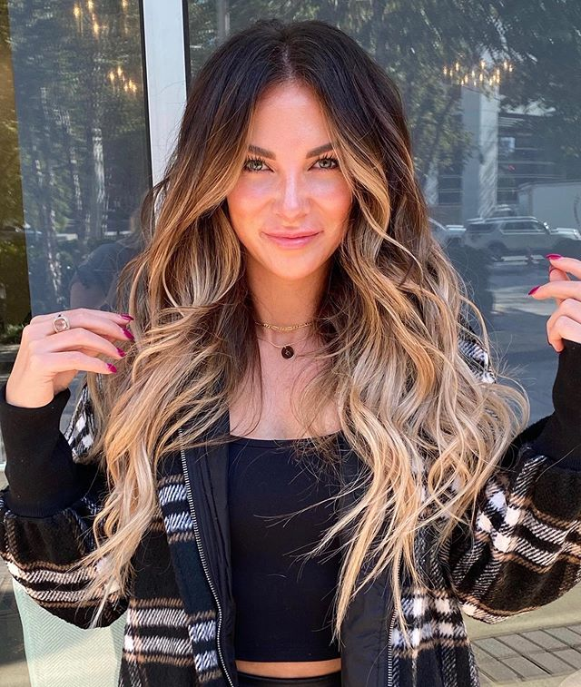 Reddish Brown Roots and Blonde Tips Hair