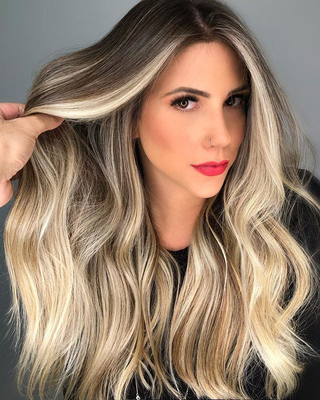 Grayish Root Balayage with Icy Blonde Hair