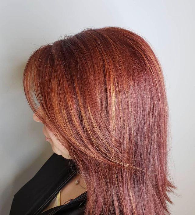Strawberry Blonde Layered Bangs Hair