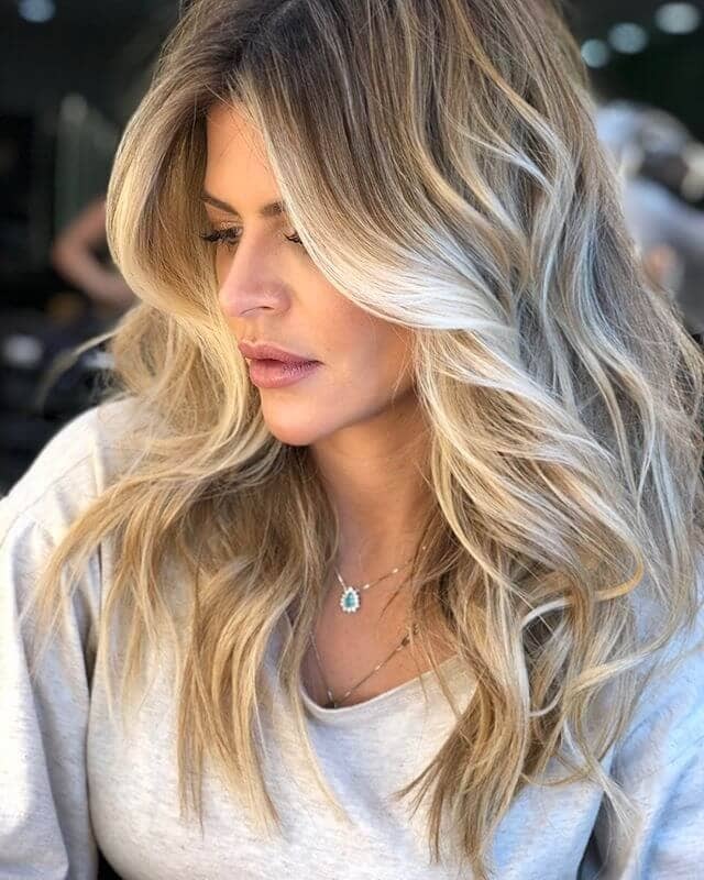 Frosty Blonde Textured Balayage Hair Highlights
