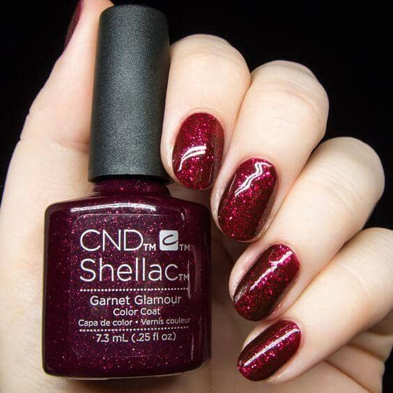 Deep Red Shellac Polish with Glitter