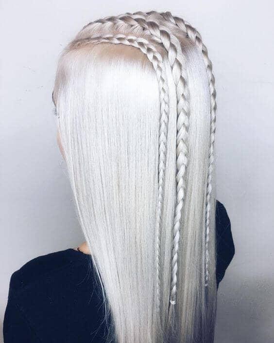 White Blonde and Unique Braids