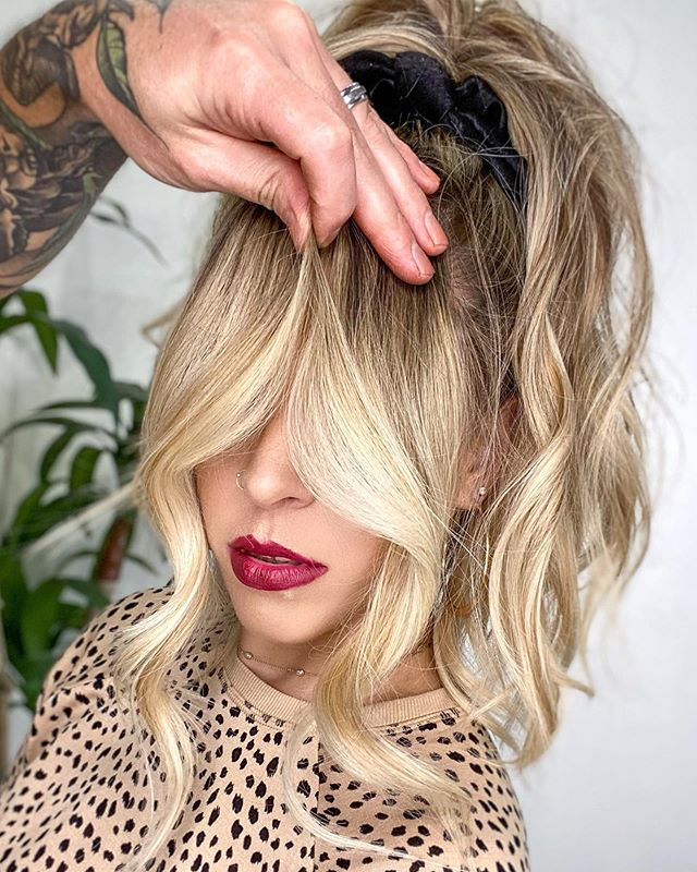 Blonde Curled Curtain Bangs Hair
