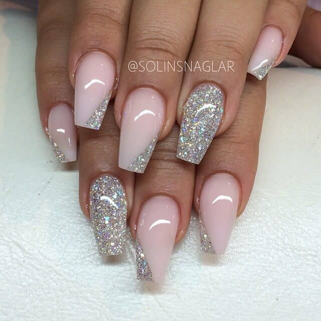 Dazzling Pink and Glitter Nails