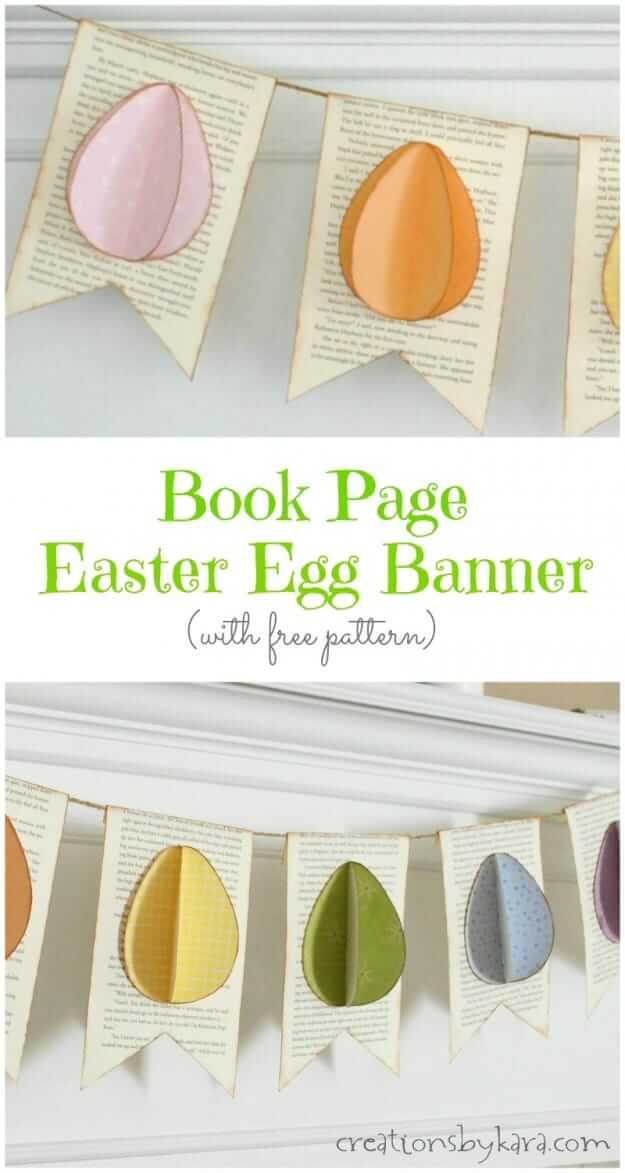Easter Egg Banner Made With Old Books