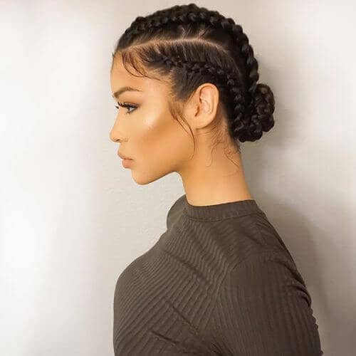 Medium Sized Braids Topped Off with an Elegant Bun