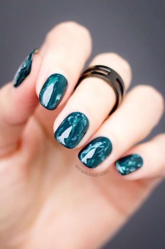 Unique Aqua Blue Swirl Acrylic Nail Art